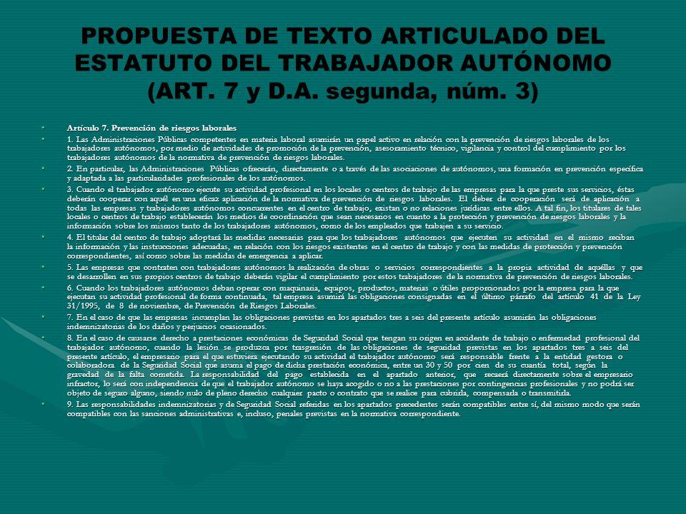 PROPUESTA DE TEXTO ARTICULADO DEL ESTATUTO DEL TRABAJADOR AUTÓNOMO (ART.