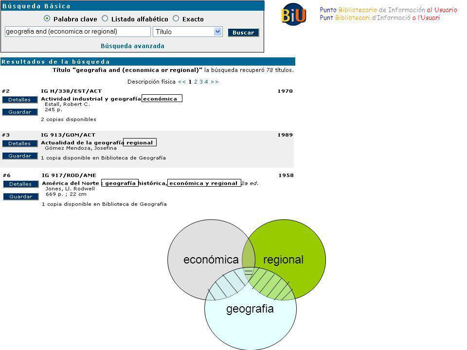 Punto Bibliotecario de Información al Usuario Punt Bibliotecari dInformació a lUsuari regionaleconómica geografia