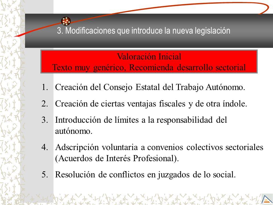 3. Modificaciones que introduce la nueva legislación 1.Creación del Consejo Estatal del Trabajo Autónomo. 2.Creación de ciertas ventajas fiscales y de