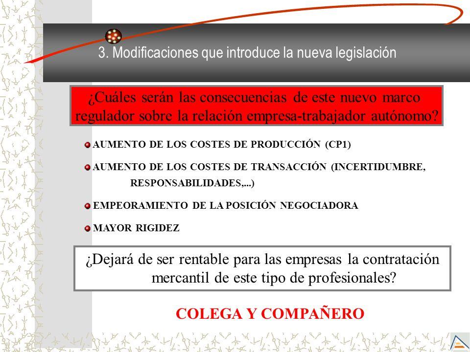 3. Modificaciones que introduce la nueva legislación ¿Dejará de ser rentable para las empresas la contratación mercantil de este tipo de profesionales