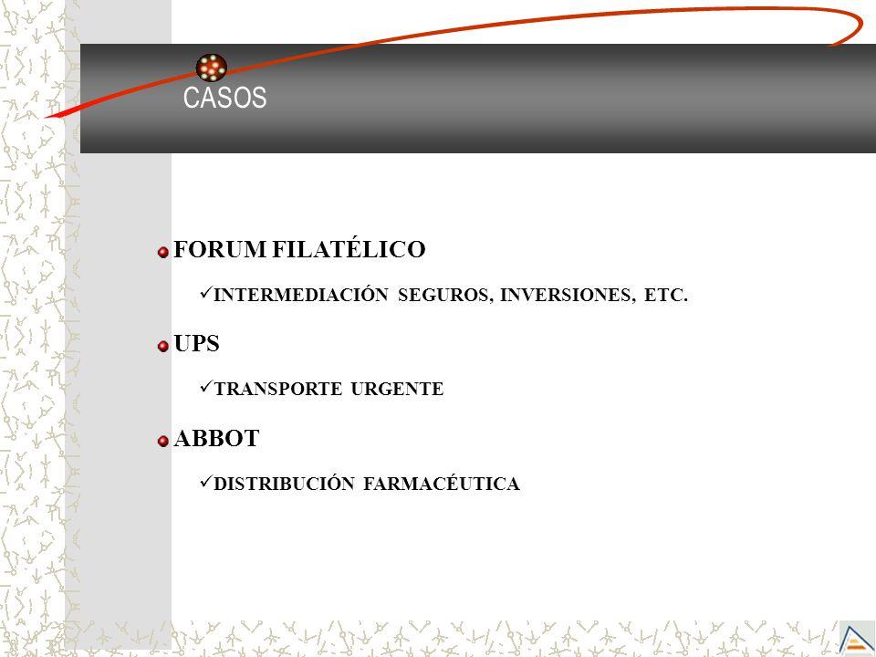 CASOS FORUM FILATÉLICO INTERMEDIACIÓN SEGUROS, INVERSIONES, ETC. UPS TRANSPORTE URGENTE ABBOT DISTRIBUCIÓN FARMACÉUTICA