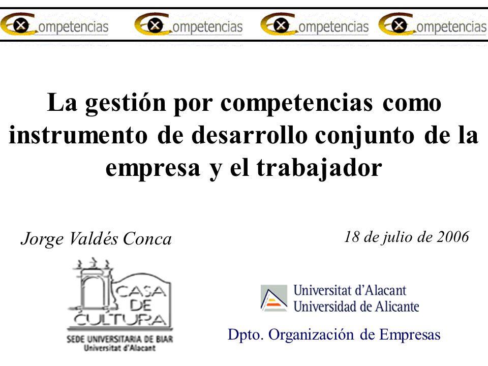 La gestión por competencias como instrumento de desarrollo conjunto de la empresa y el trabajador Jorge Valdés Conca 18 de julio de 2006 Dpto. Organiz