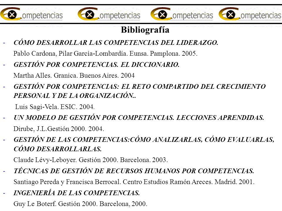 Bibliografía -CÓMO DESARROLLAR LAS COMPETENCIAS DEL LIDERAZGO. Pablo Cardona, Pilar García-Lombardía. Eunsa. Pamplona. 2005. -GESTIÓN POR COMPETENCIAS