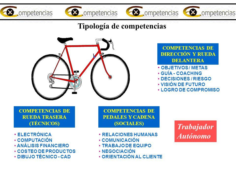 Tipología de competencias COMPETENCIAS DE DIRECCIÓN Y RUEDA DELANTERA OBJETIVOS / METAS GUÍA - COACHING DECISIONES / RIESGO VISIÓN DE FUTURO LOGRO DE