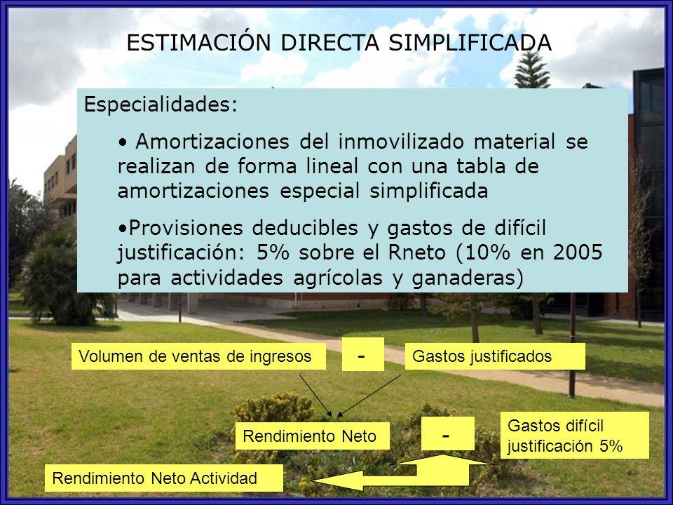 ESTIMACIÓN DIRECTA SIMPLIFICADA Especialidades: Amortizaciones del inmovilizado material se realizan de forma lineal con una tabla de amortizaciones e