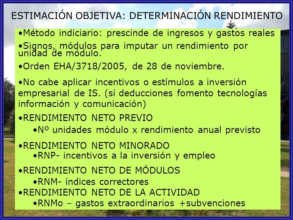ESTIMACIÓN OBJETIVA: DETERMINACIÓN RENDIMIENTO Método indiciario: prescinde de ingresos y gastos reales Signos, módulos para imputar un rendimiento po