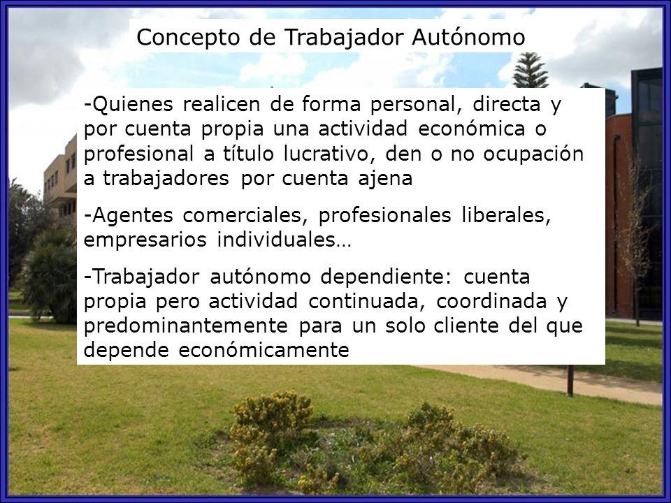 Concepto de Trabajador Autónomo -Quienes realicen de forma personal, directa y por cuenta propia una actividad económica o profesional a título lucrat