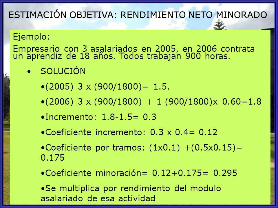 ESTIMACIÓN OBJETIVA: RENDIMIENTO NETO MINORADO Ejemplo: Empresario con 3 asalariados en 2005, en 2006 contrata un aprendiz de 18 años. Todos trabajan