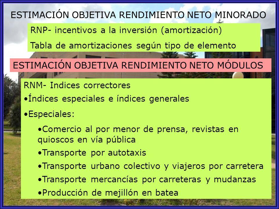 ESTIMACIÓN OBJETIVA RENDIMIENTO NETO MINORADO RNP- incentivos a la inversión (amortización) Tabla de amortizaciones según tipo de elemento ESTIMACIÓN