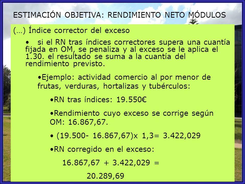 ESTIMACIÓN OBJETIVA: RENDIMIENTO NETO MÓDULOS (…) Índice corrector del exceso si el RN tras índices correctores supera una cuantía fijada en OM, se pe