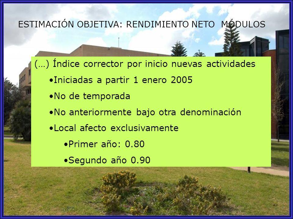 ESTIMACIÓN OBJETIVA: RENDIMIENTO NETO MÓDULOS (…) Índice corrector por inicio nuevas actividades Iniciadas a partir 1 enero 2005 No de temporada No an