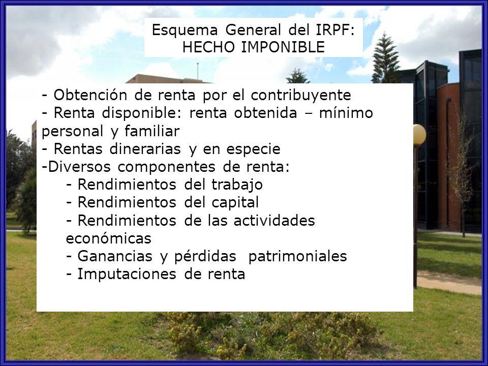ESQUEMA GENERAL DEL IRPF 1.DETERMINACIÓN DE LA RENTA DEL PERÍODO IMPOSITIVO - Calificación y cuantificación de las rentas - Aplicación de reducciones - Integración y compensación de rentas 2.- MINORACIÓN DE LA RENTA CON EL MÍNIMO PERSONAL Y FAMILIAR 3.- RESULTADO: PARTE GENERAL Y ESPECIAL DE LA BASE IMPONIBLE 4.- REDUCCIONES: BASE LIQUIDABLE 5.- TIPO DE GRAVAMEN: CUOTA ÍNTEGRA 6.- DEDUCCIONES: CUOTA LÍQUIDA 7.- PAGOS A CUENTA: CUOTA DIFERENCIAL