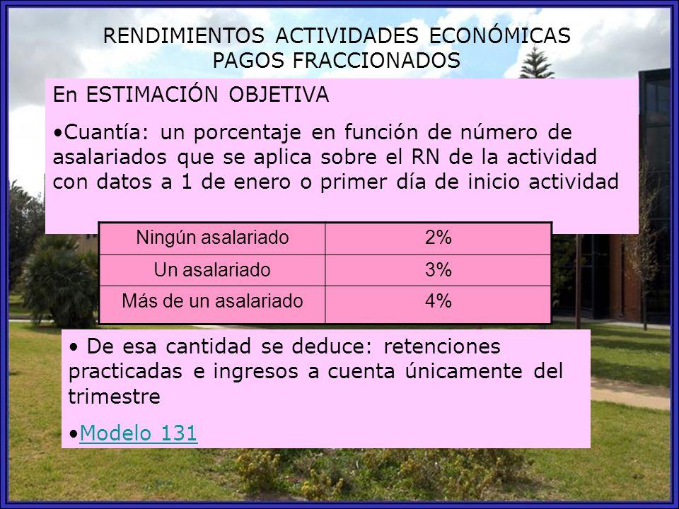 RENDIMIENTOS ACTIVIDADES ECONÓMICAS PAGOS FRACCIONADOS En ESTIMACIÓN OBJETIVA Cuantía: un porcentaje en función de número de asalariados que se aplica