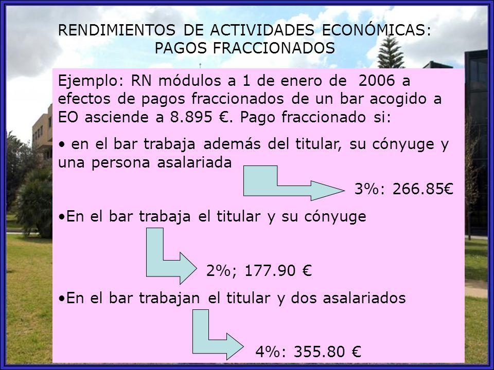 RENDIMIENTOS DE ACTIVIDADES ECONÓMICAS: PAGOS FRACCIONADOS Ejemplo: RN módulos a 1 de enero de 2006 a efectos de pagos fraccionados de un bar acogido