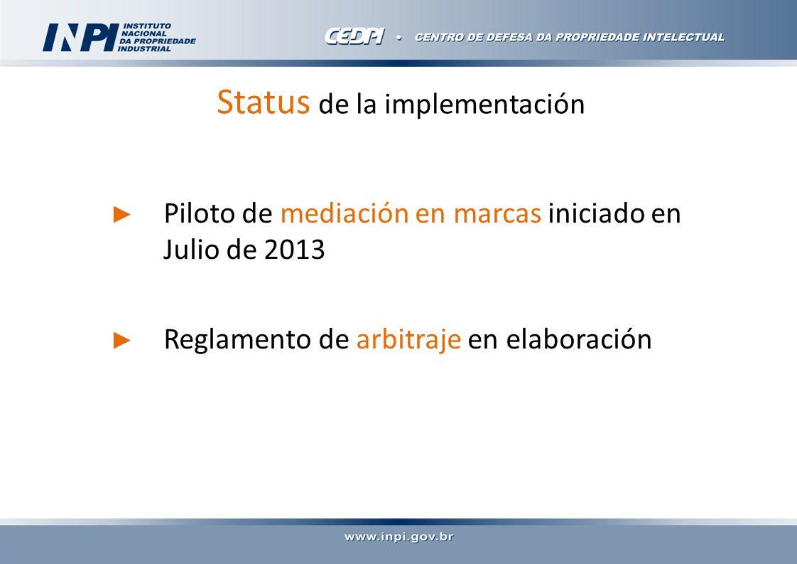 Status de la implementación Piloto de mediación en marcas iniciado en Julio de 2013 Reglamento de arbitraje en elaboración
