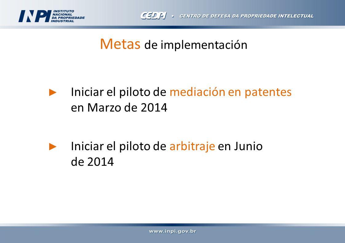 Metas de implementación Iniciar el piloto de mediación en patentes en Marzo de 2014 Iniciar el piloto de arbitraje en Junio de 2014