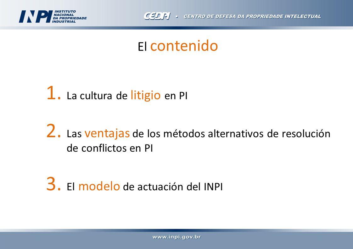 El contenido 1. La cultura de litigio en PI 2.