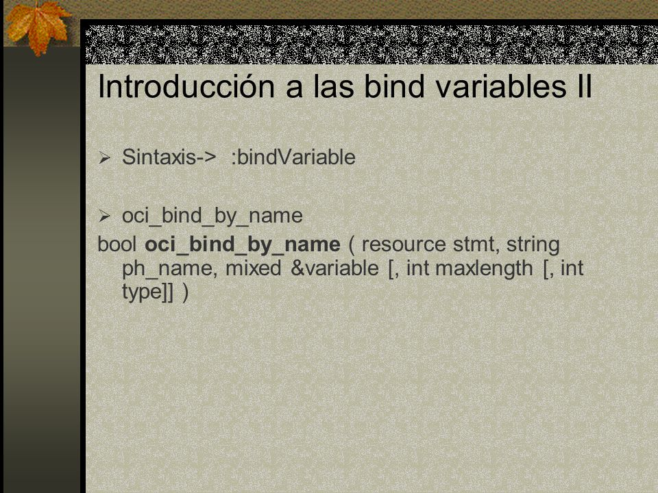 Introducción a las bind variables II Sintaxis-> :bindVariable oci_bind_by_name bool oci_bind_by_name ( resource stmt, string ph_name, mixed &variable