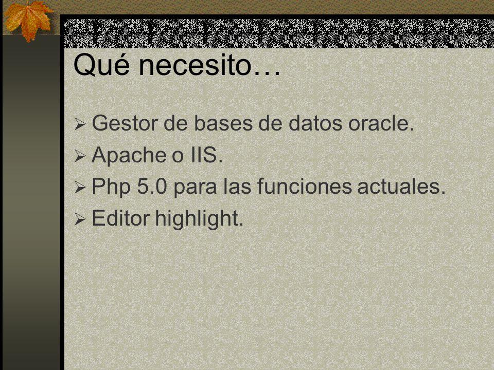 Qué necesito… Gestor de bases de datos oracle. Apache o IIS. Php 5.0 para las funciones actuales. Editor highlight.