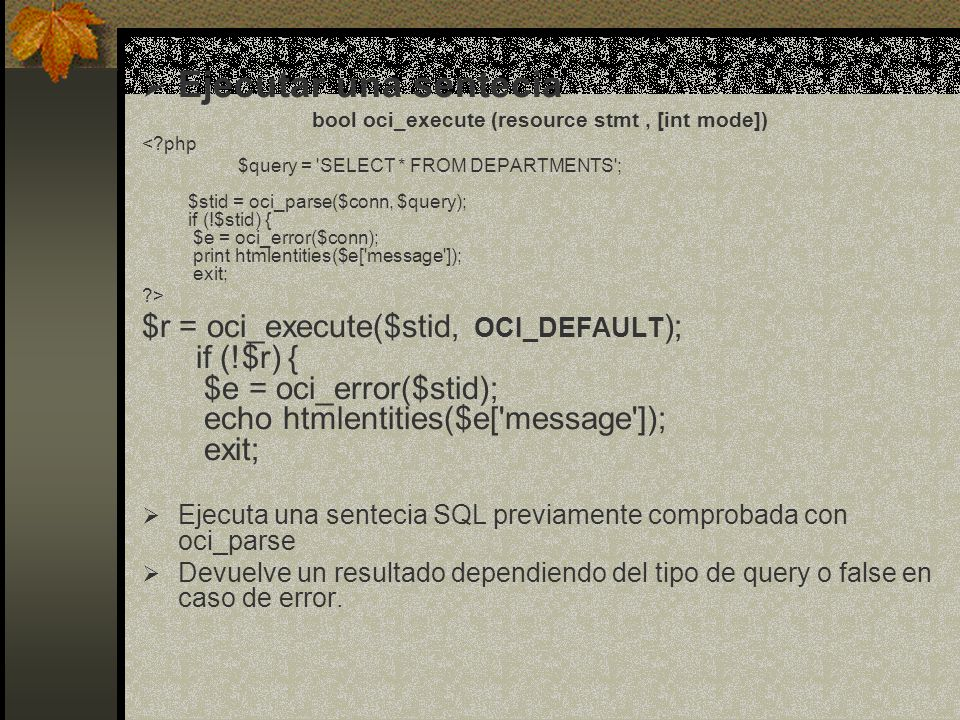 ; while ($row = oci_fetch_array($stid, OCI_RETURN_NULLS)) { print ; foreach ($row as $item) { print .($item?htmlentities($item): ). ; } print ; } print ; oci_close($conn); ?>