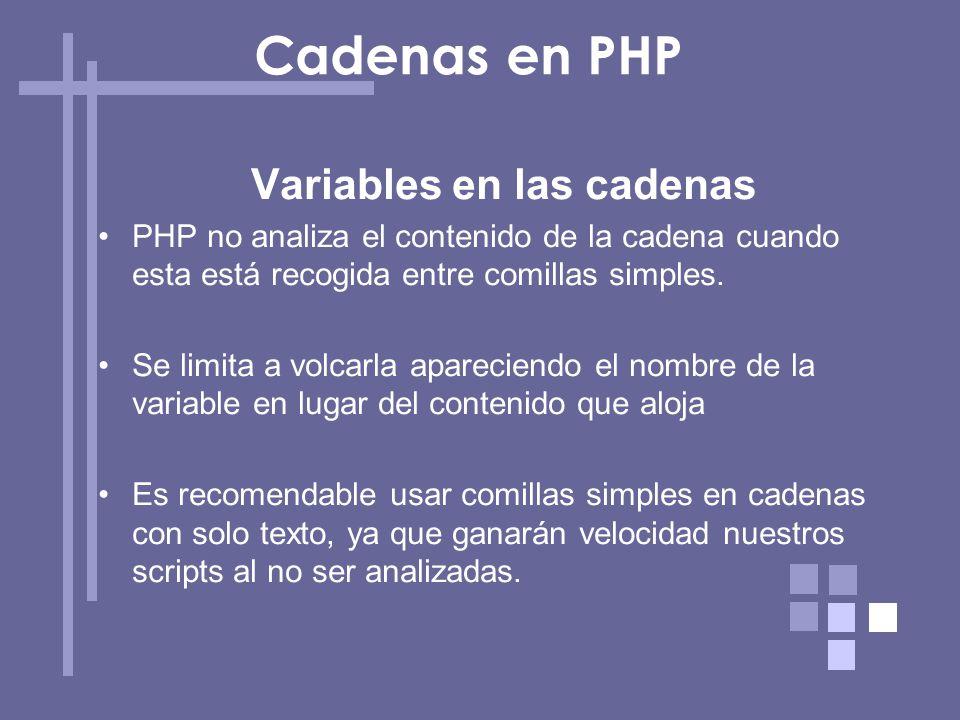 Variables en las cadenas PHP no analiza el contenido de la cadena cuando esta está recogida entre comillas simples. Se limita a volcarla apareciendo e