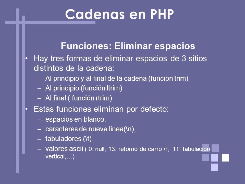 Funciones: Eliminar espacios Hay tres formas de eliminar espacios de 3 sitios distintos de la cadena: –Al principio y al final de la cadena (funcion t