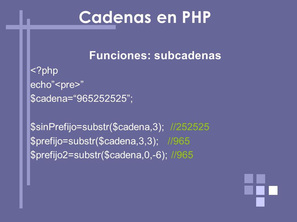 Funciones: subcadenas <?php echo $cadena=965252525; $sinPrefijo=substr($cadena,3); //252525 $prefijo=substr($cadena,3,3); //965 $prefijo2=substr($cade
