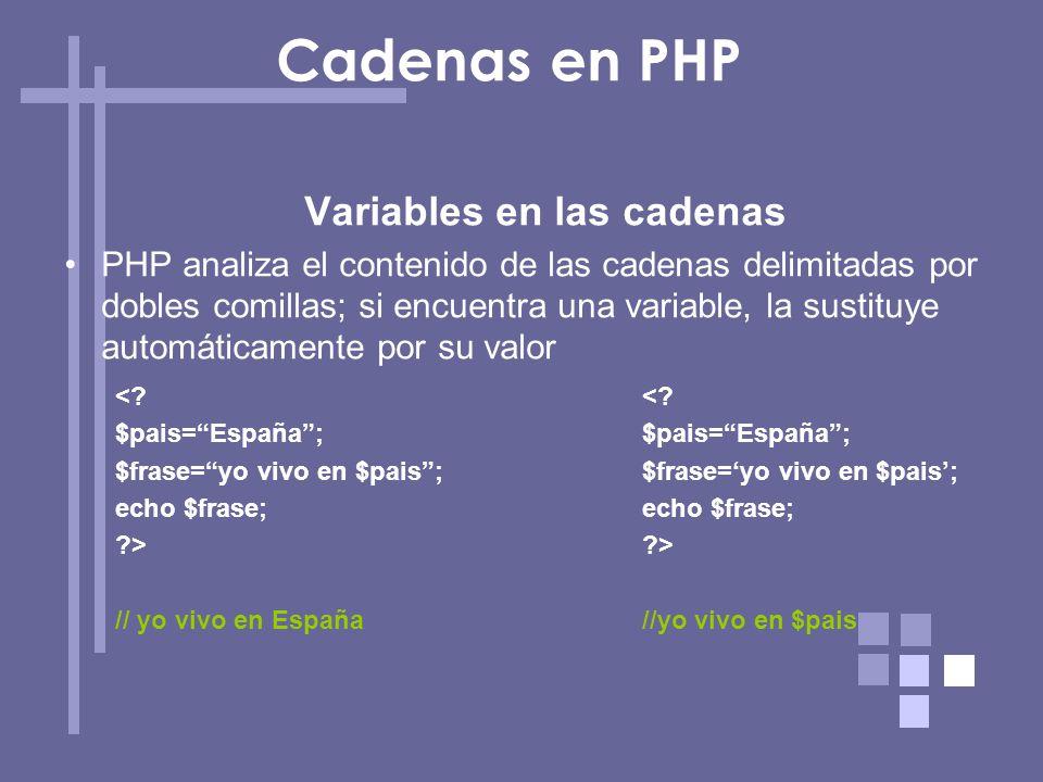 Variables en las cadenas PHP analiza el contenido de las cadenas delimitadas por dobles comillas; si encuentra una variable, la sustituye automáticame