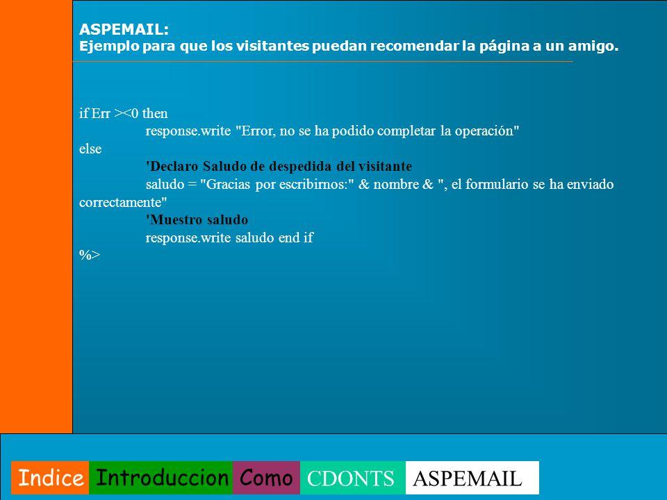 ASPEMAIL: Ejemplo para que los visitantes puedan recomendar la página a un amigo. if Err > Indice IntroduccionComo CDONTSASPEMAIL