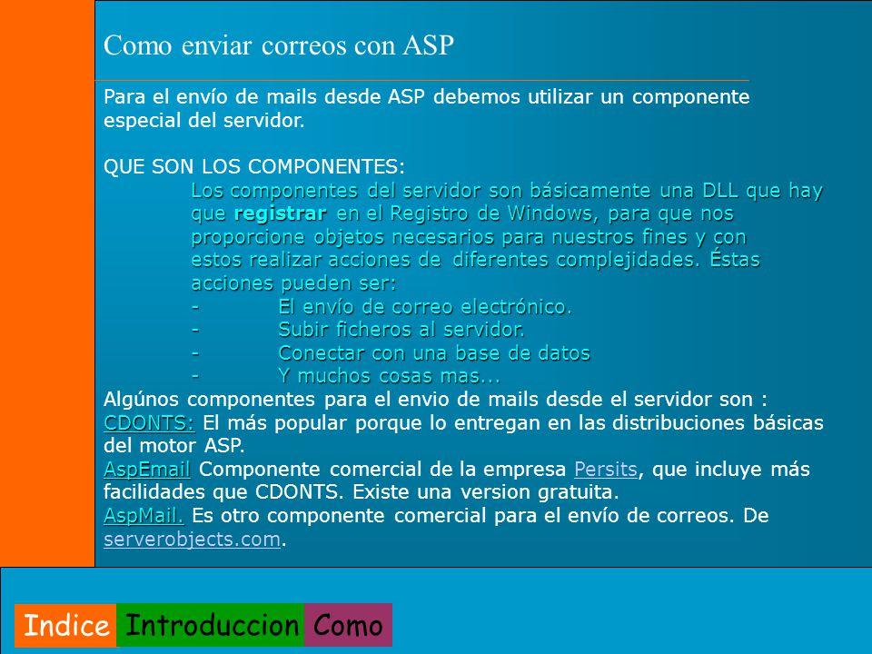 Para el envío de mails desde ASP debemos utilizar un componente especial del servidor. QUE SON LOS COMPONENTES: Los componentes del servidor son básic