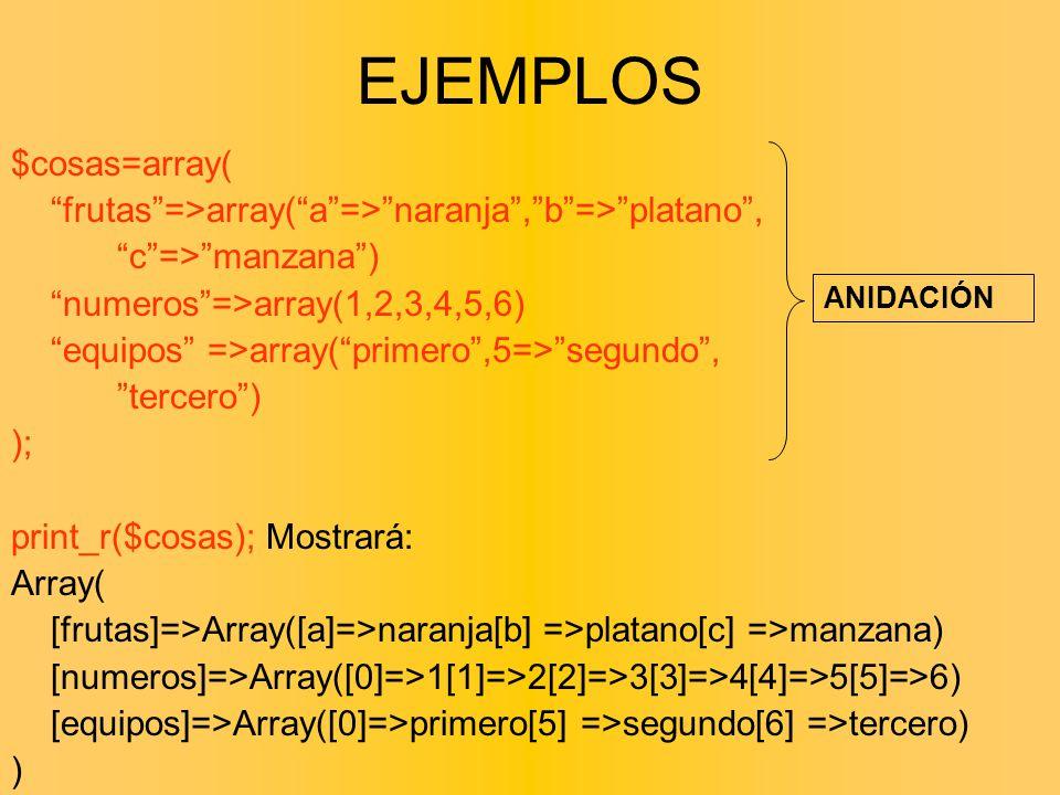 $cosas=array( frutas=>array(a=>naranja,b=>platano, c=>manzana) numeros=>array(1,2,3,4,5,6) equipos =>array(primero,5=>segundo, tercero) ); print_r($co