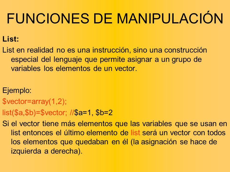 List: List en realidad no es una instrucción, sino una construcción especial del lenguaje que permite asignar a un grupo de variables los elementos de