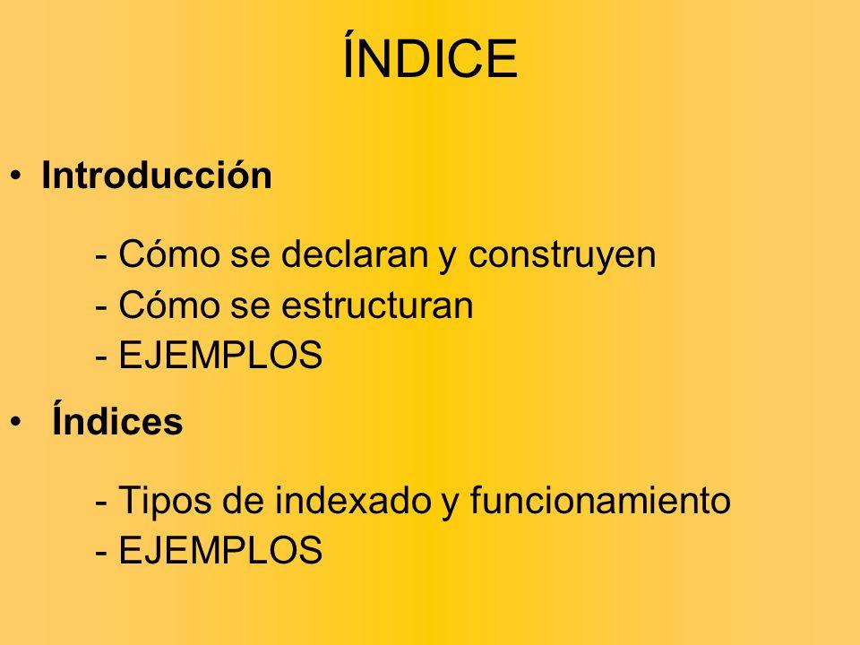 ÍNDICE Introducción - Cómo se declaran y construyen - Cómo se estructuran - EJEMPLOS Índices - Tipos de indexado y funcionamiento - EJEMPLOS