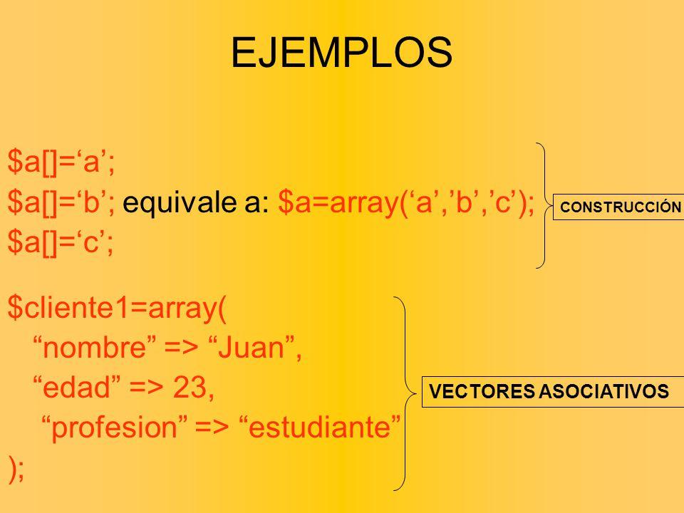 $a[]=a; $a[]=b; equivale a: $a=array(a,b,c); $a[]=c; $cliente1=array( nombre => Juan, edad => 23, profesion => estudiante ); VECTORES ASOCIATIVOS CONS