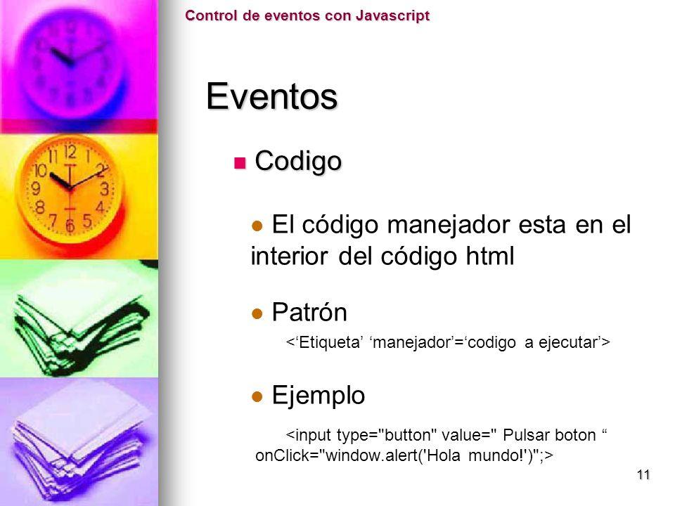 El código manejador esta en el interior del código html Patrón Ejemplo <input type=