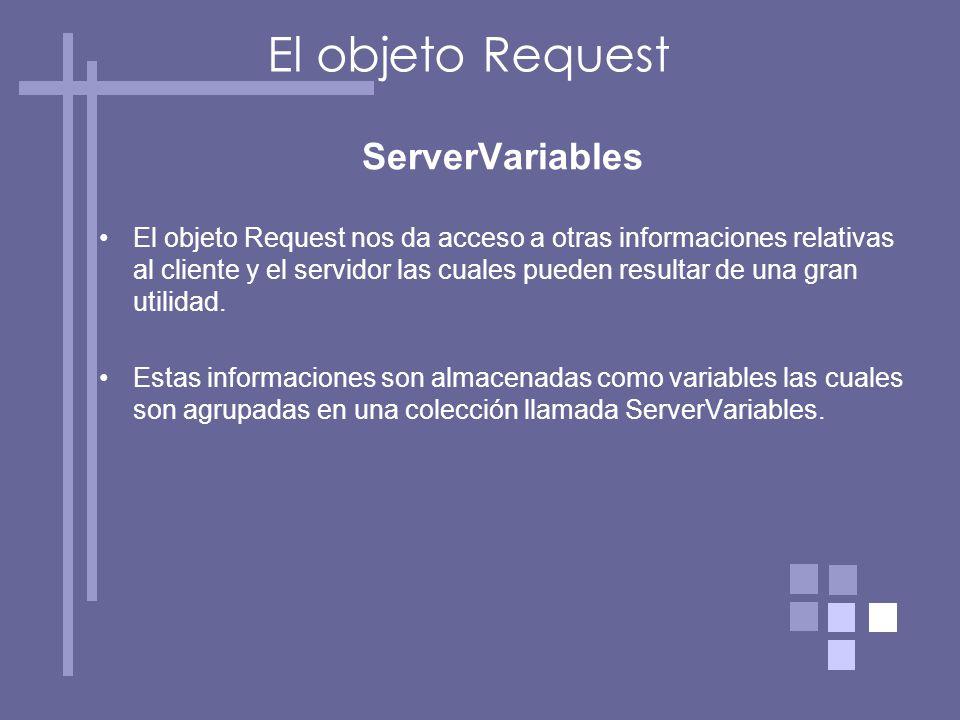 ServerVariables El objeto Request nos da acceso a otras informaciones relativas al cliente y el servidor las cuales pueden resultar de una gran utilidad.