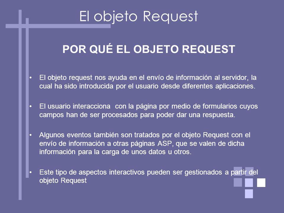 El objeto Request POR QUÉ EL OBJETO REQUEST El objeto request nos ayuda en el envío de información al servidor, la cual ha sido introducida por el usuario desde diferentes aplicaciones.