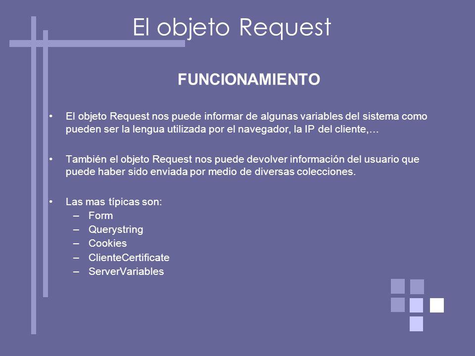 FUNCIONAMIENTO El objeto Request nos puede informar de algunas variables del sistema como pueden ser la lengua utilizada por el navegador, la IP del cliente,… También el objeto Request nos puede devolver información del usuario que puede haber sido enviada por medio de diversas colecciones.