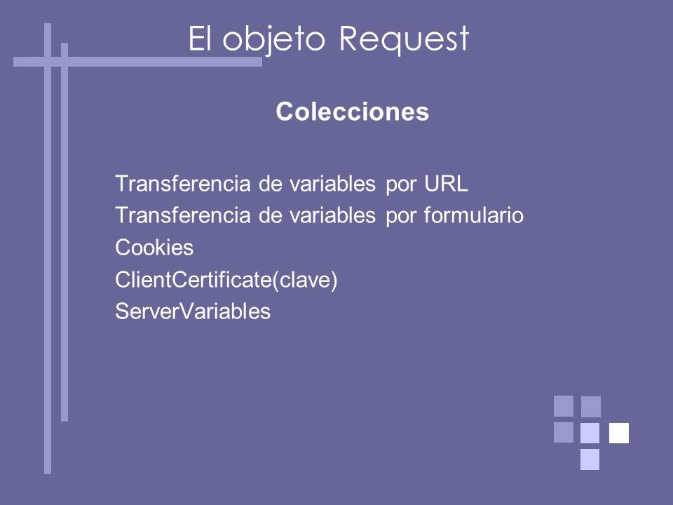 Colecciones Transferencia de variables por URL Transferencia de variables por formulario Cookies ClientCertificate(clave) ServerVariables El objeto Request