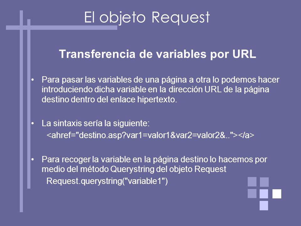Transferencia de variables por URL Para pasar las variables de una página a otra lo podemos hacer introduciendo dicha variable en la dirección URL de la página destino dentro del enlace hipertexto.