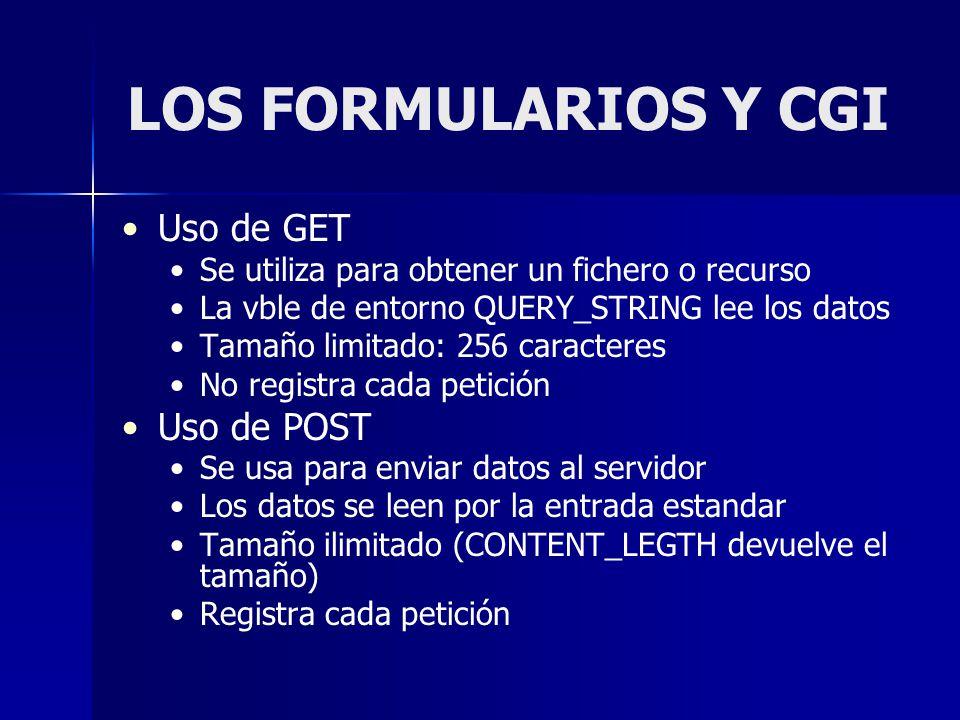 LOS FORMULARIOS Y CGI Uso de GET Se utiliza para obtener un fichero o recurso La vble de entorno QUERY_STRING lee los datos Tamaño limitado: 256 carac