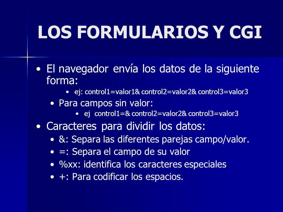 LOS FORMULARIOS Y CGI El navegador envía los datos de la siguiente forma: ej: control1=valor1& control2=valor2& control3=valor3 Para campos sin valor: