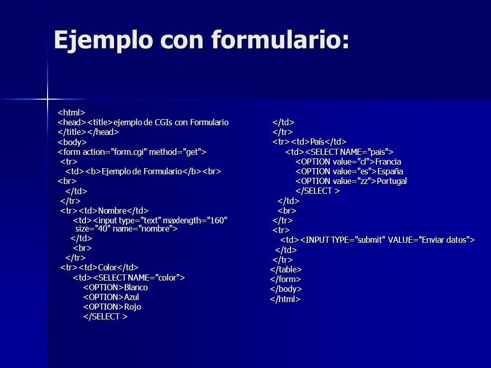 Ejemplo con formulario: <html> ejemplo de CGIs con Formulario ejemplo de CGIs con Formulario</title></head><body> Ejemplo de Formulario Ejemplo de For