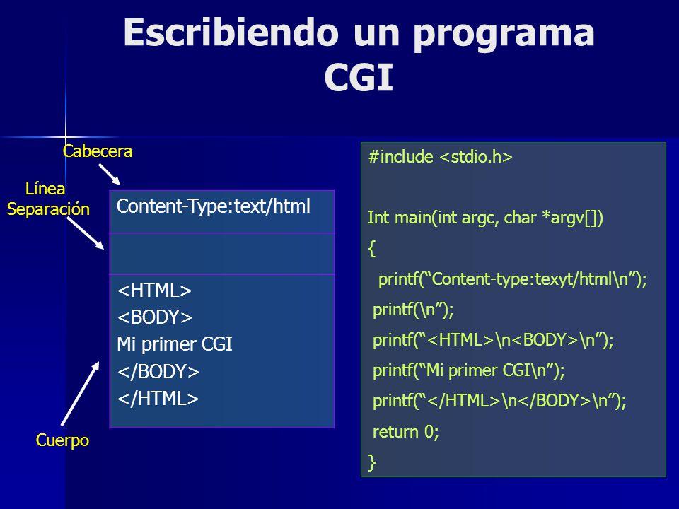 Escribiendo un programa CGI Content-Type:text/html Mi primer CGI #include Int main(int argc, char *argv[]) { printf(Content-type:texyt/html\n); printf