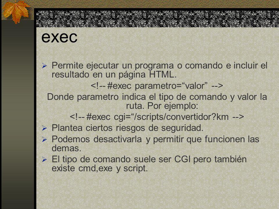 exec Permite ejecutar un programa o comando e incluir el resultado en un página HTML. Donde parametro indica el tipo de comando y valor la ruta. Por e