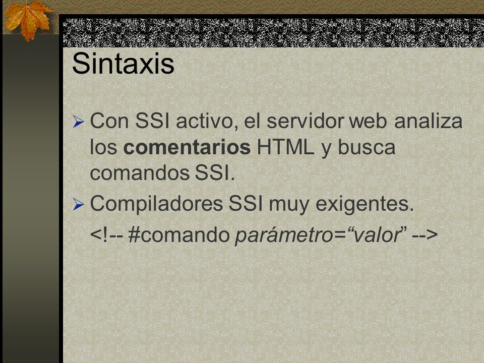 COMANDOS SSI Mas importantes: config echo exec flastmod fsize include Otros comandos: set printenv