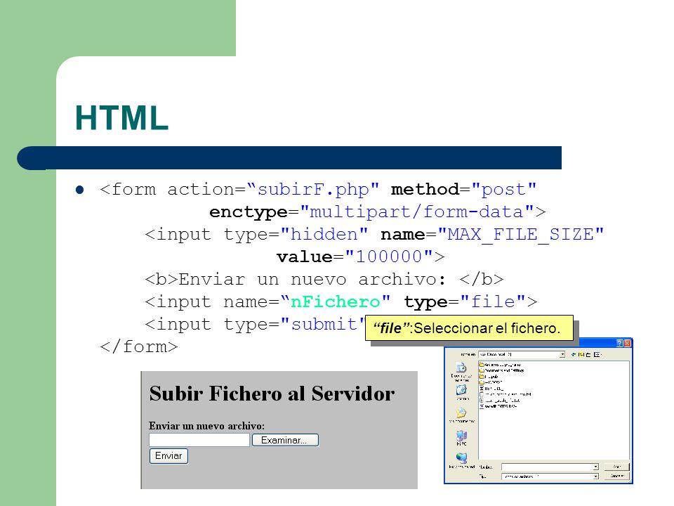HTML Enviar un nuevo archivo: file:Seleccionar el fichero.