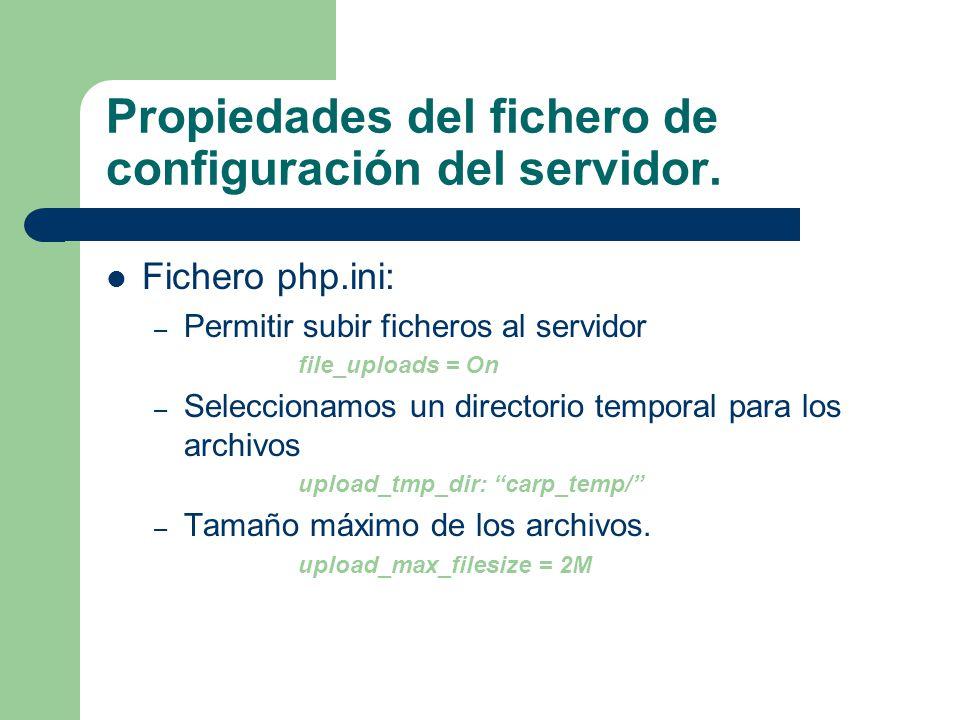 Propiedades del fichero de configuración del servidor.