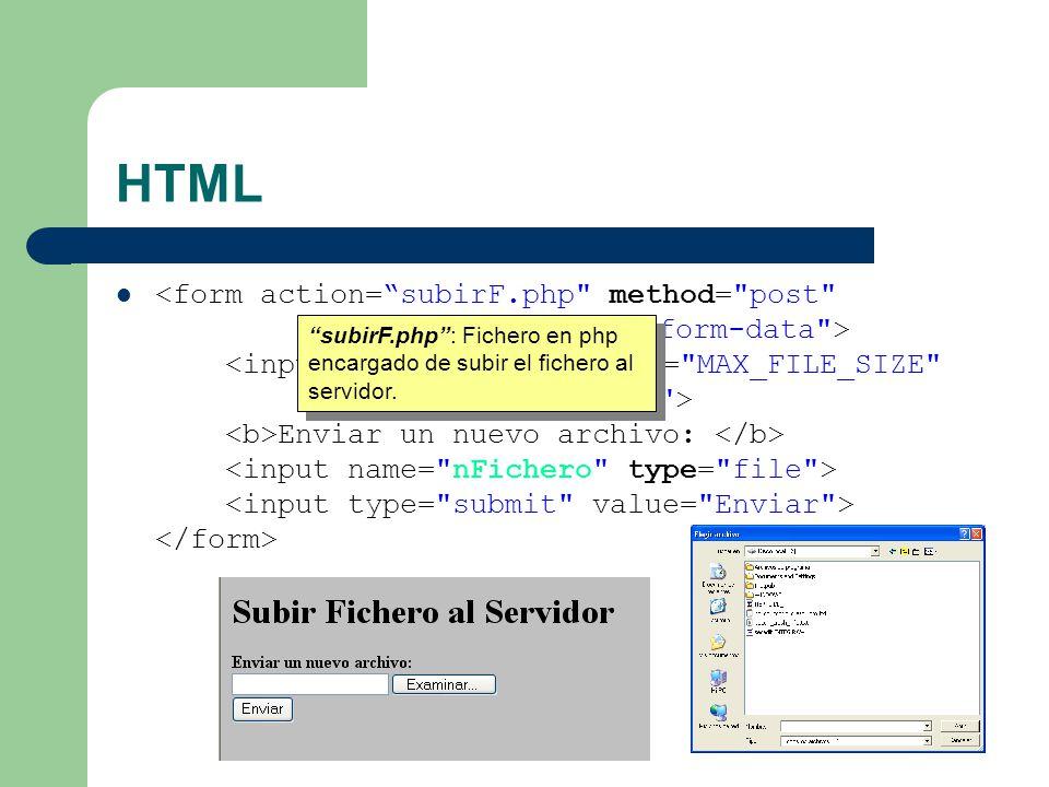 HTML Enviar un nuevo archivo: post: Enviaremos el fichero por la entrada estándar.