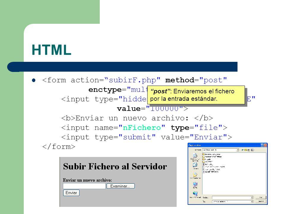 HTML Enviar un nuevo archivo: multipart/form-data:Permite subir datos y archivos en un mismo formulario.